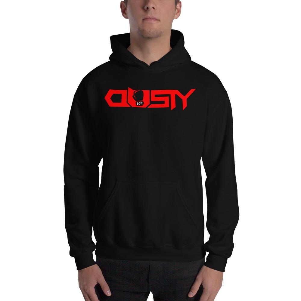 """Dusty 30th"" by Dusty Hernandez, Men's Hoodie, Red Logo"