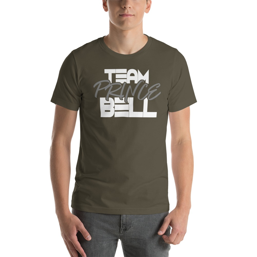 """""""Team Prince Bell"""" by Albert Bell, Men's T-Shirt, White and Grey  Logo"""