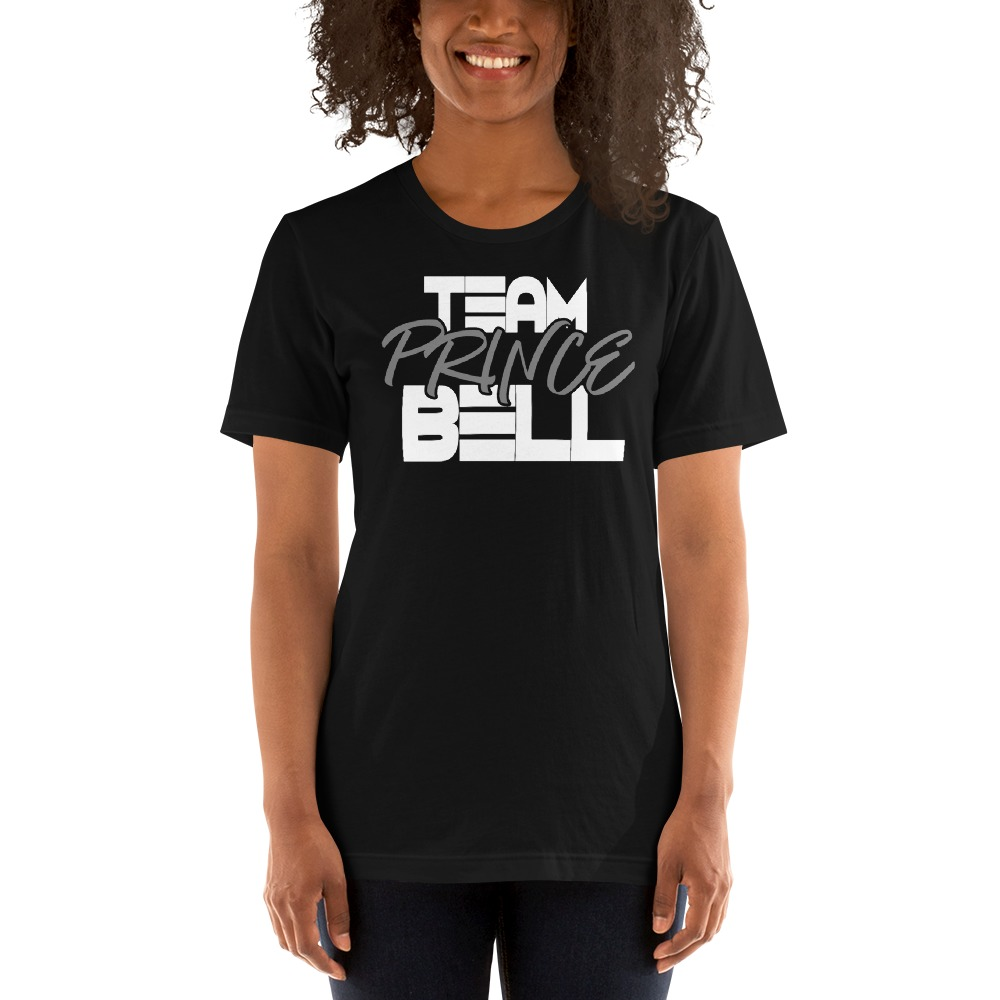 """""""Team Prince Bell"""" by Albert Bell, Women's T-Shirt, White and Grey Logo"""