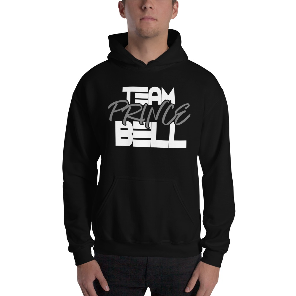 """""""Team Prince Bell"""" by Albert Bell, Men's Hoodie, White and Grey Logo"""
