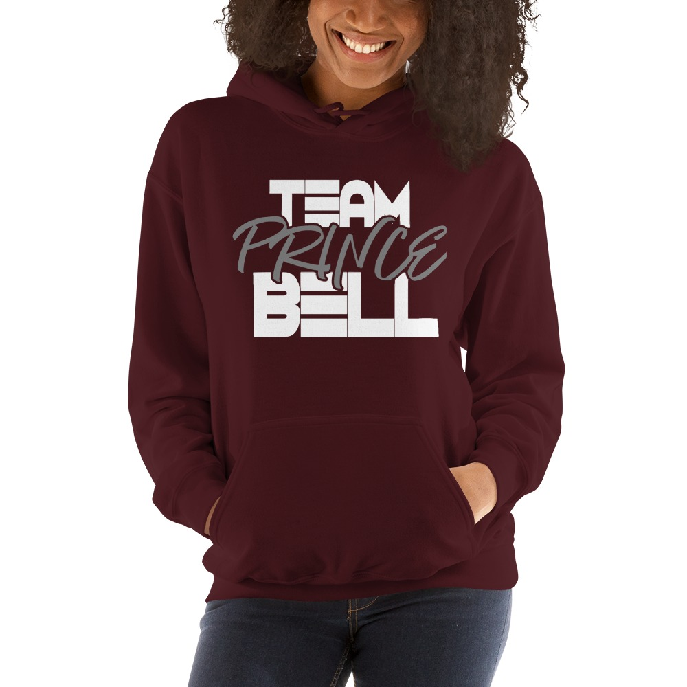 """""""Team Prince Bell"""" by Albert Bell, Women's Hoodie, White and Grey Logo"""