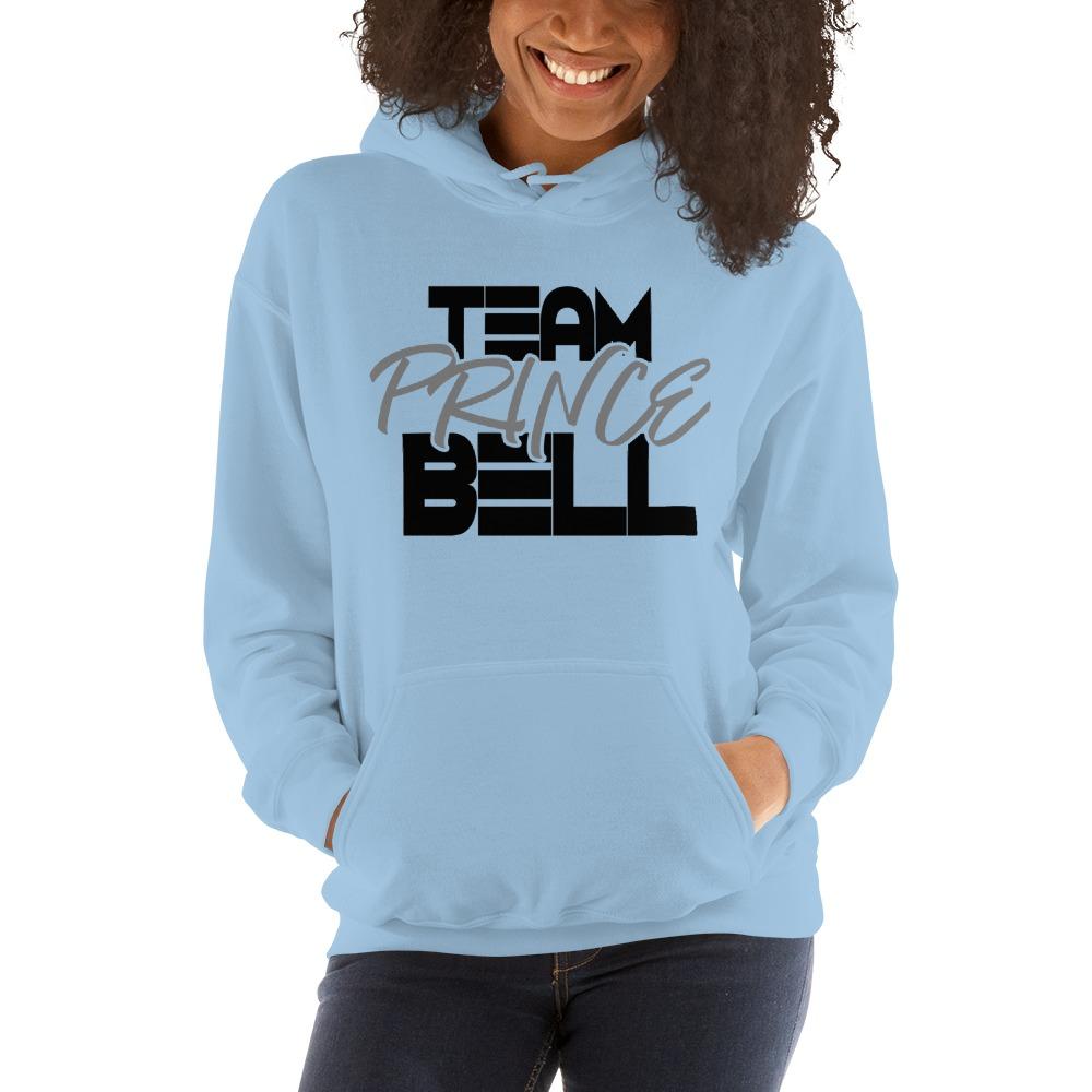 """Team Prince Bell"" by Albert Bell Women's Hoodie, Black and Grey Logo"