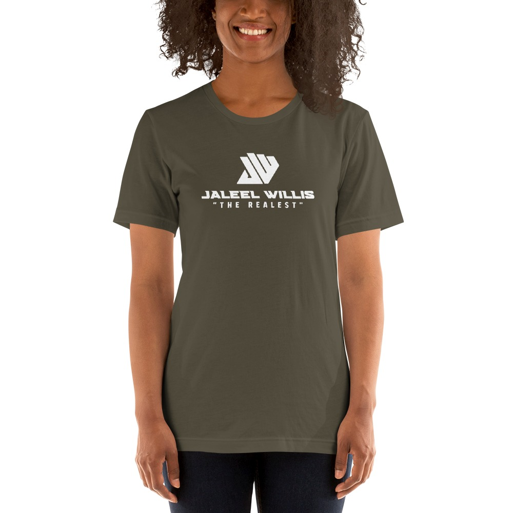 The Realest by Jaleel Willis Women's T-shirt, All White Logo