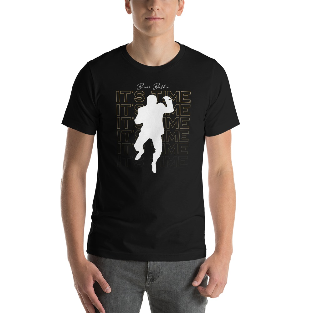 It's Time™ by Bruce Buffer, Men's T-Shirt, White and Gold Logo