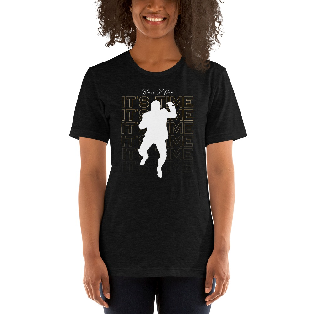 It's Time™ by Bruce Buffer, Women's T-Shirt, White and Gold Logo
