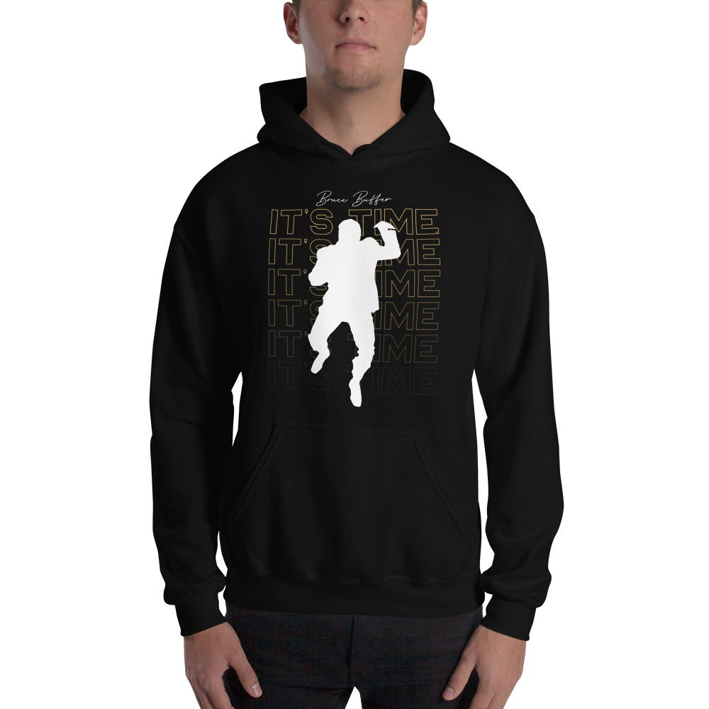 It's Time™ by Bruce Buffer, Men's Hoodie, White and Gold Logo
