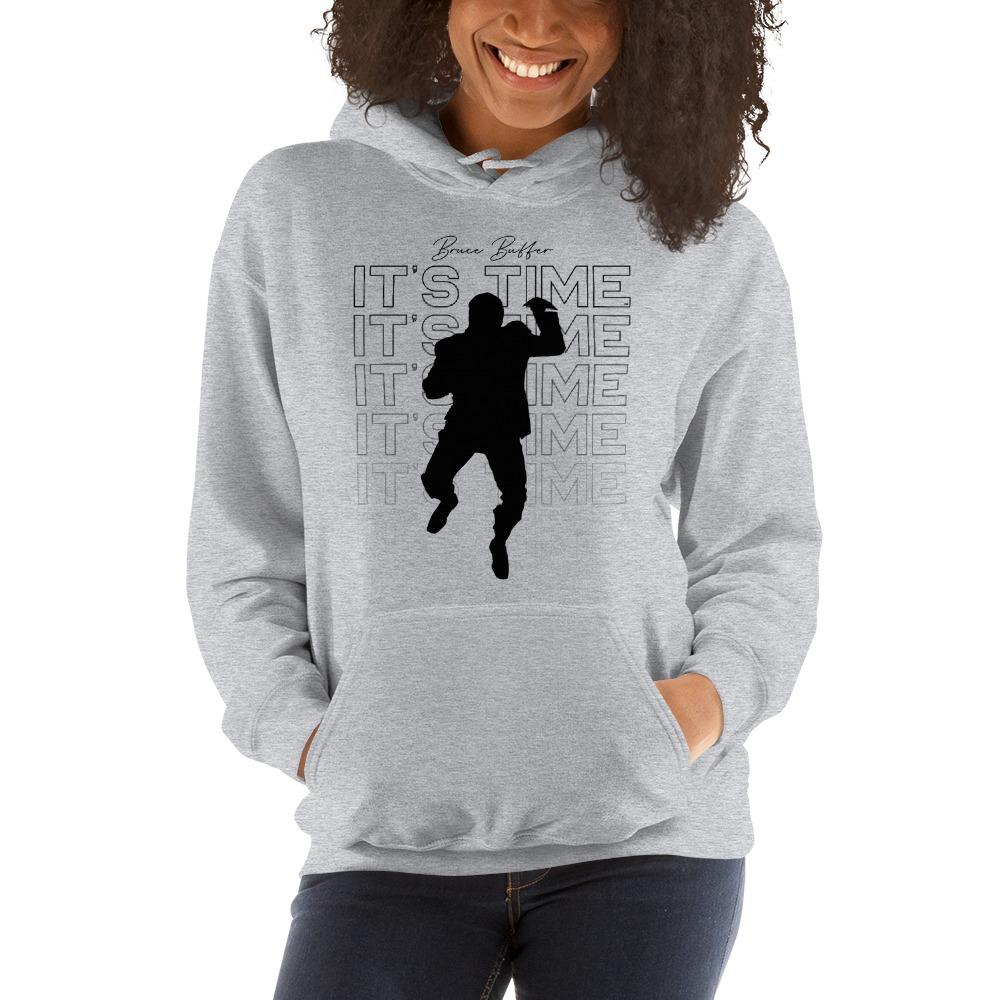 It's Time™ by Bruce Buffer, Women's Hoodie, Black Logo