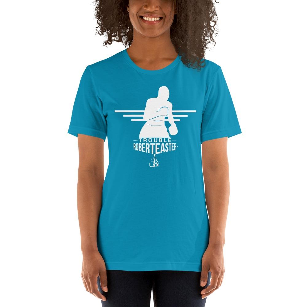 """Trouble"" by Robert Easter Jr, Women's T-shirt, White Logo"