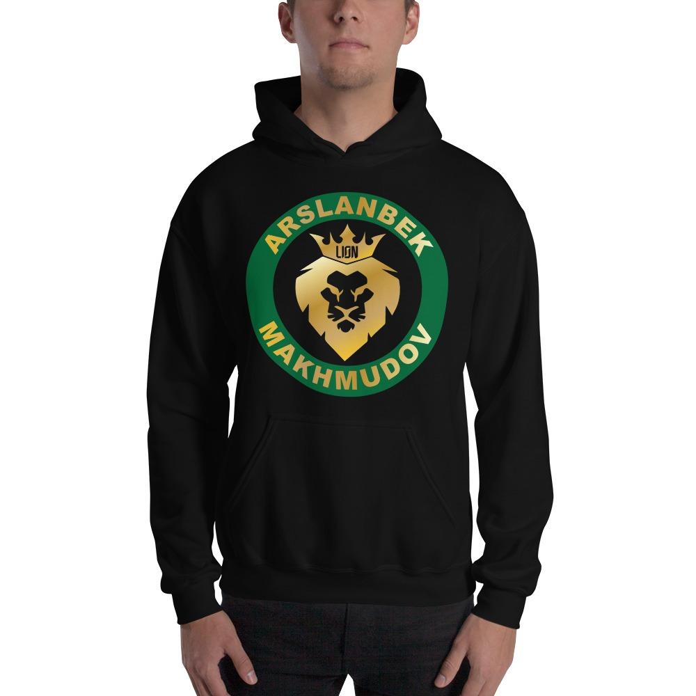 Lion's Head by Arslanbek Makhmudov Men's Hoodie, Gold Logo