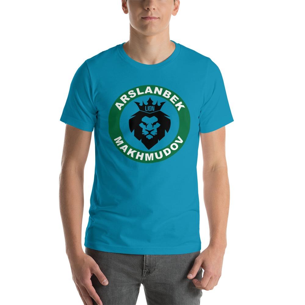 Lion's Head by Arslanbek Makhmudov Men's T-shirt, Black and Green Logo