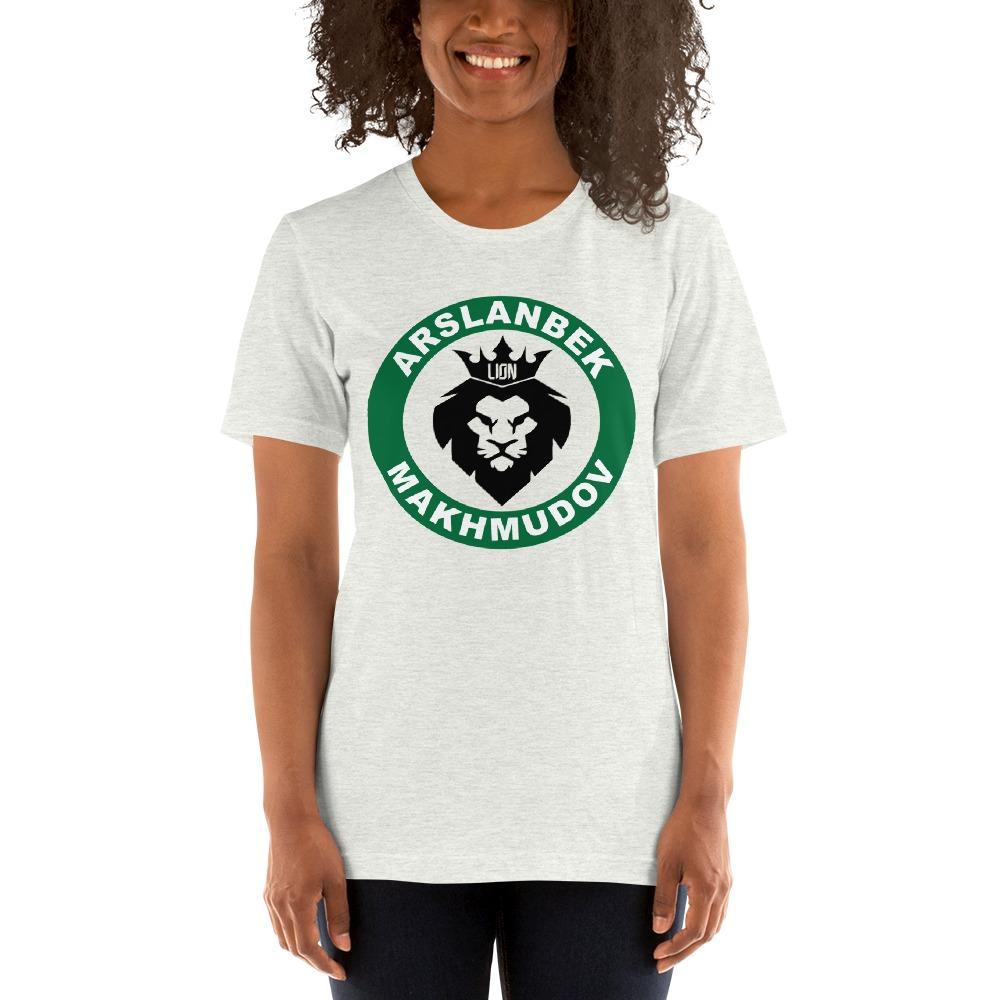 Lion's Head by Arslanbek Makhmudov Women's T-shirt, Black and Green Logo