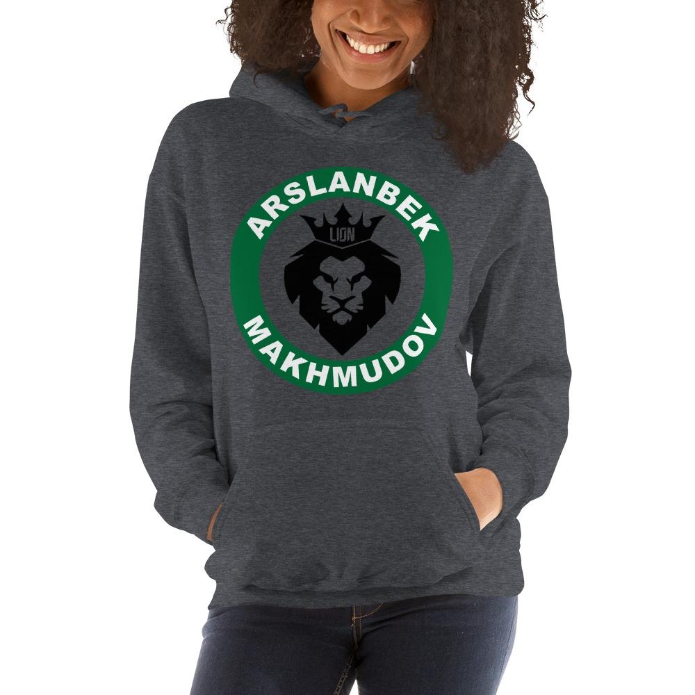 Lion's Head by Arslanbek Makhmudov Women's Hoodie, Black and Green Logo