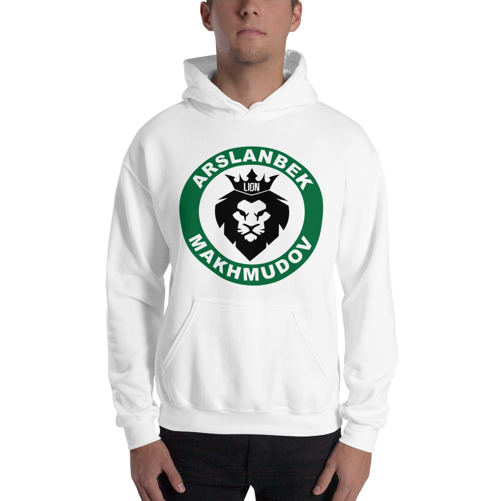 Lion's Head by Arslanbek Makhmudov Men's Hoodie, Black and Green Logo