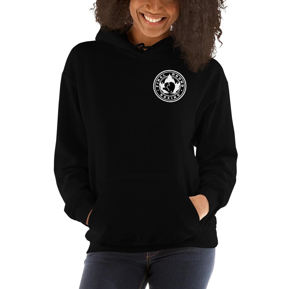 Final Round Women's Hoodie, Black & White Mini Logo