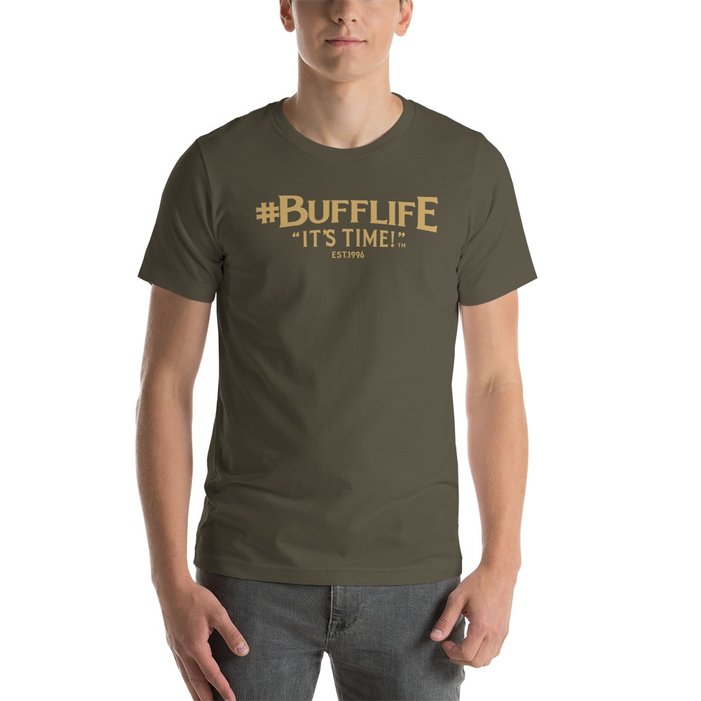 """""""BUFFLIFE"""" BY BRUCE BUFFER, MEN'S T-SHIRT, OLD GOLD LOGO"""