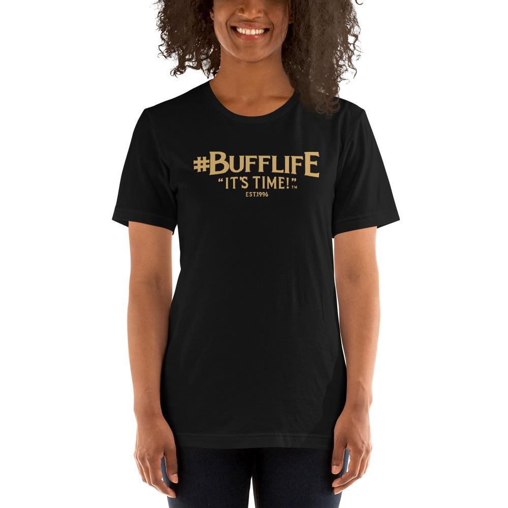 """BUFFLIFE"" BY BRUCE BUFFER, WOMEN'S T-SHIRT, OLD GOLD LOGO"