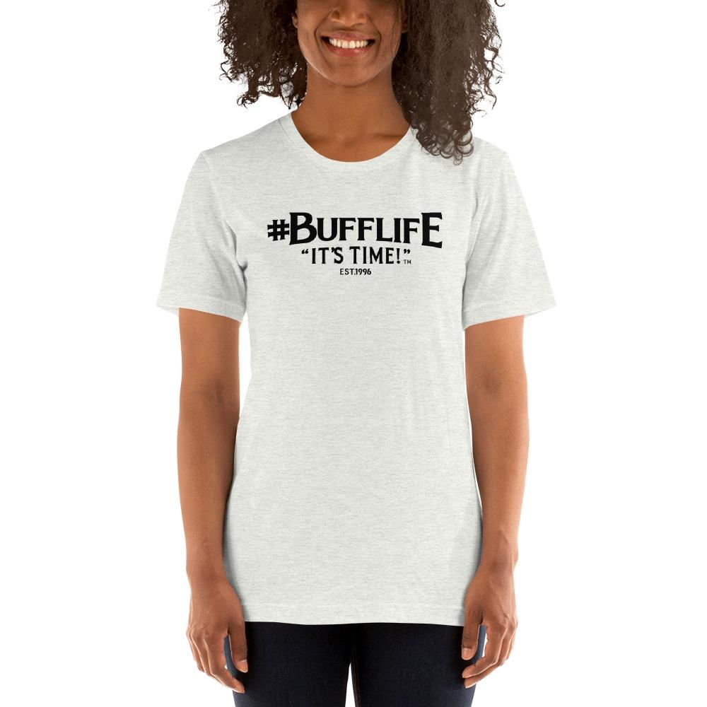 """BUFFLIFE"" BY BRUCE BUFFER, WOMEN'S T-SHIRT, BLACK LOGO"