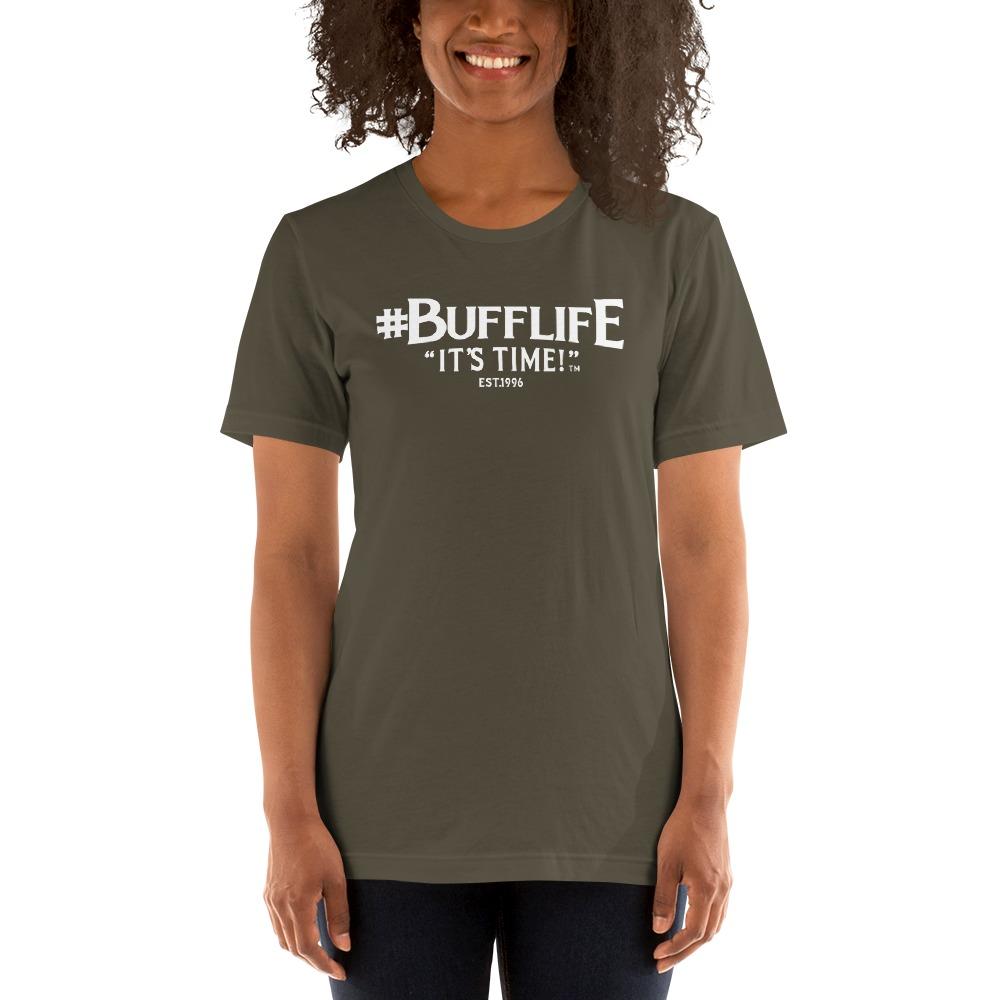 """""""BUFFLIFE"""" BY BRUCE BUFFER, WOMEN'S T-SHIRT, wHITE LOGO"""