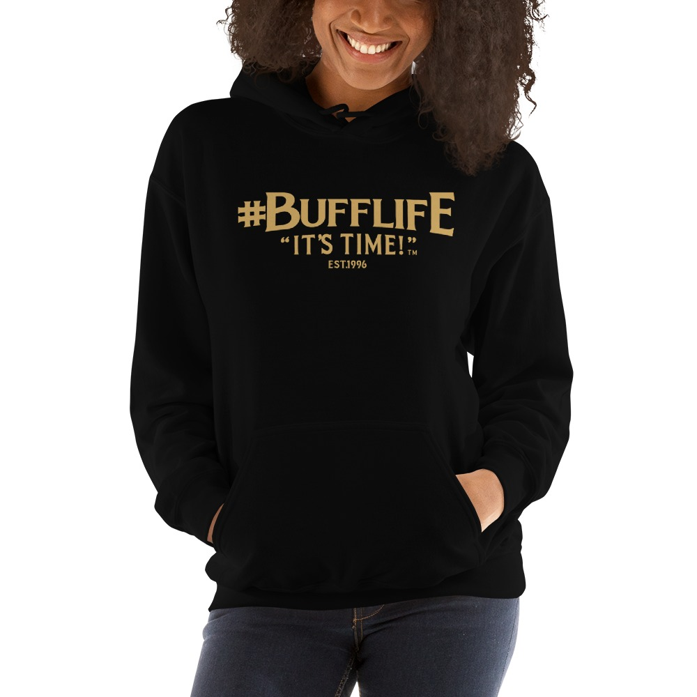 """BUFFLIFE"" BY BRUCE BUFFER, WOMEN'S HOODIE, OLD GOLD LOGO"