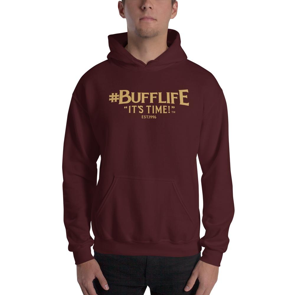 """BUFFLIFE"" BY BRUCE BUFFER, MEN'S HOODIE, OLD GOLD LOGO"