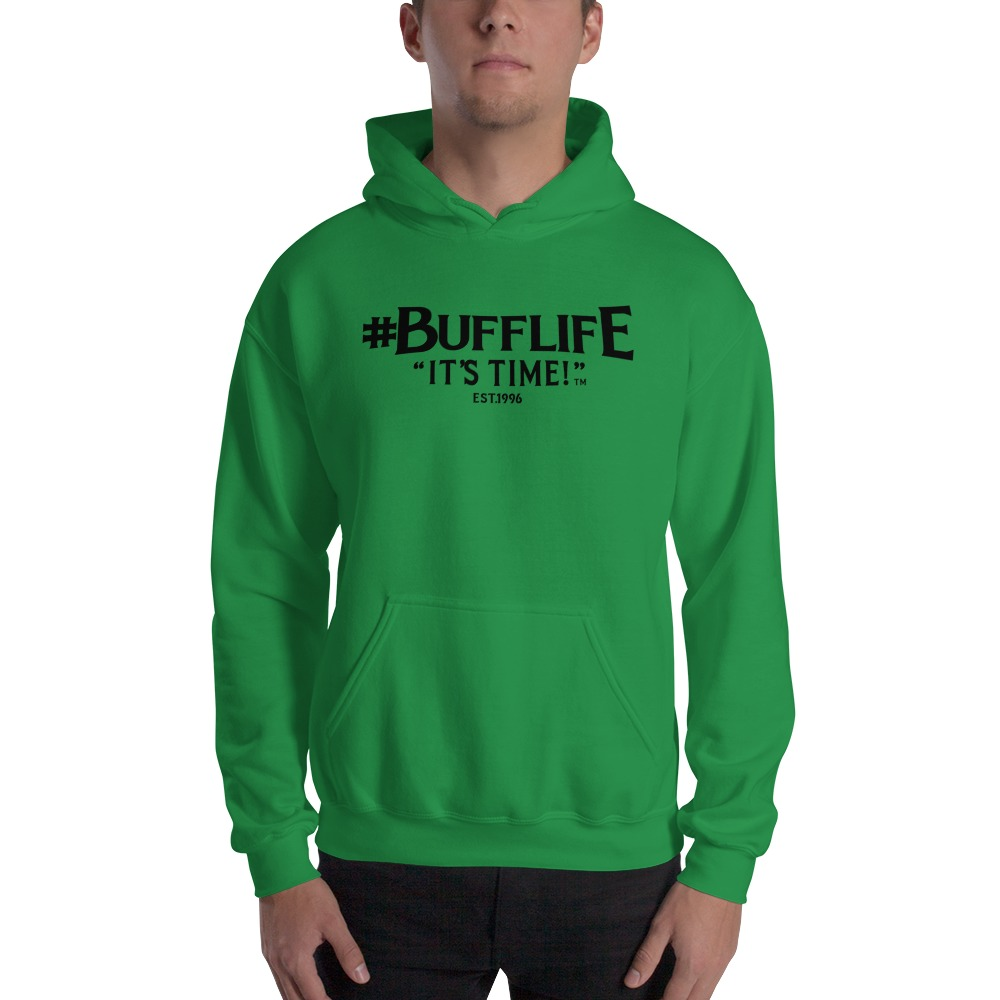 """BUFFLIFE"" BY BRUCE BUFFER, MEN'S HOODIE, BLACK LOGO"