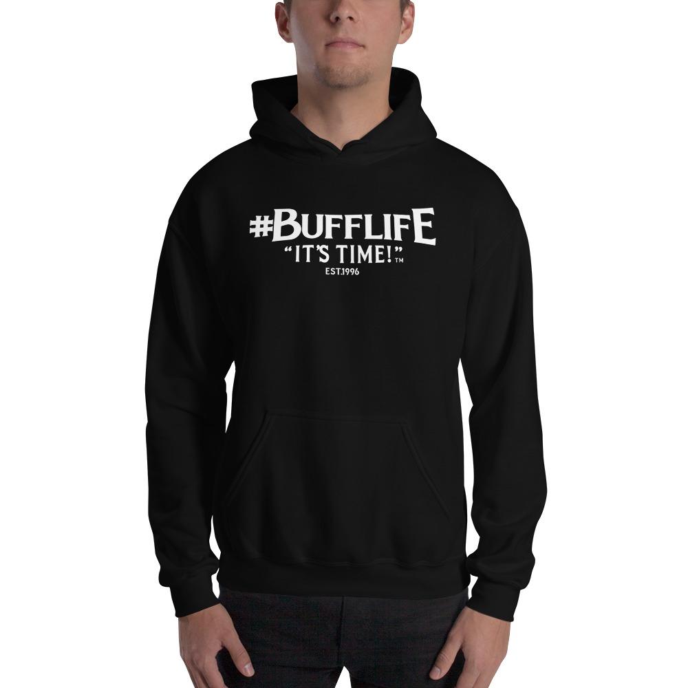 """BUFFLIFE"" BY BRUCE BUFFER, MEN'S HOODIE, wHITE LOGO"