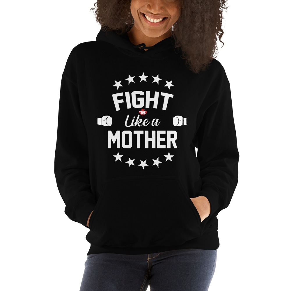 Fight Like A Mother by Mandy Bujold, Women's Hoodie, White Logo