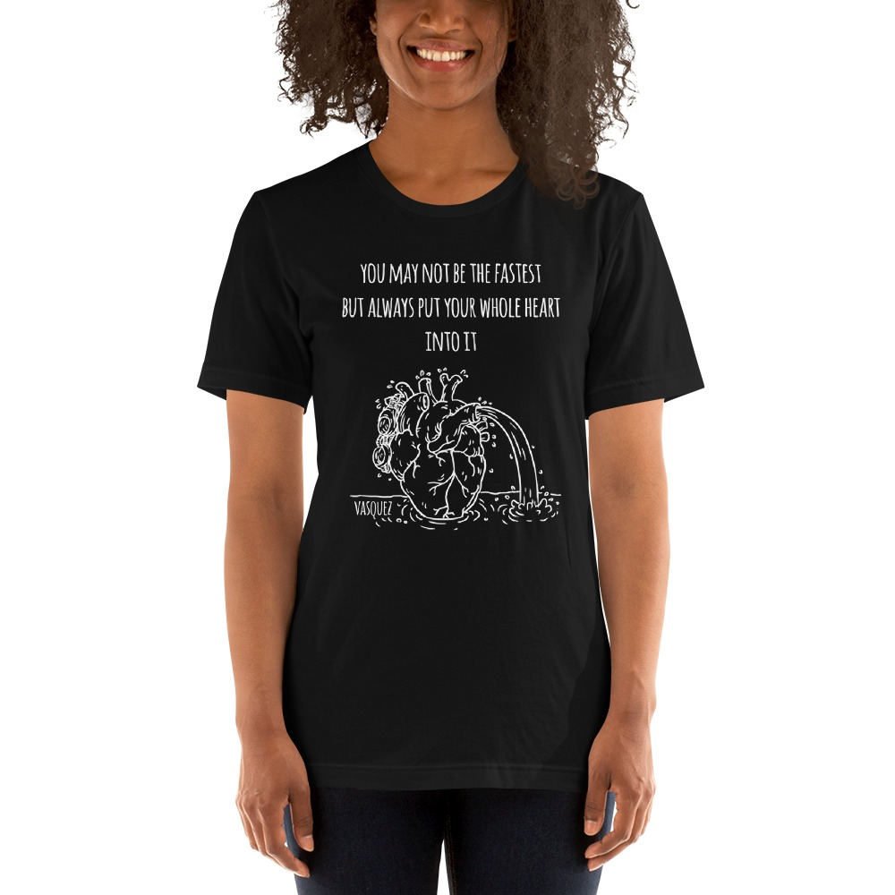 Heart of a Swimmer by Miguel Vásquez, Women's T-Shirt White Logo