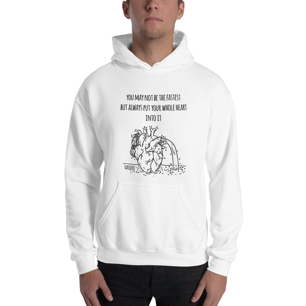 Heart of a Swimmer by Miguel Vásquez, Men's Hoodie Black Logo