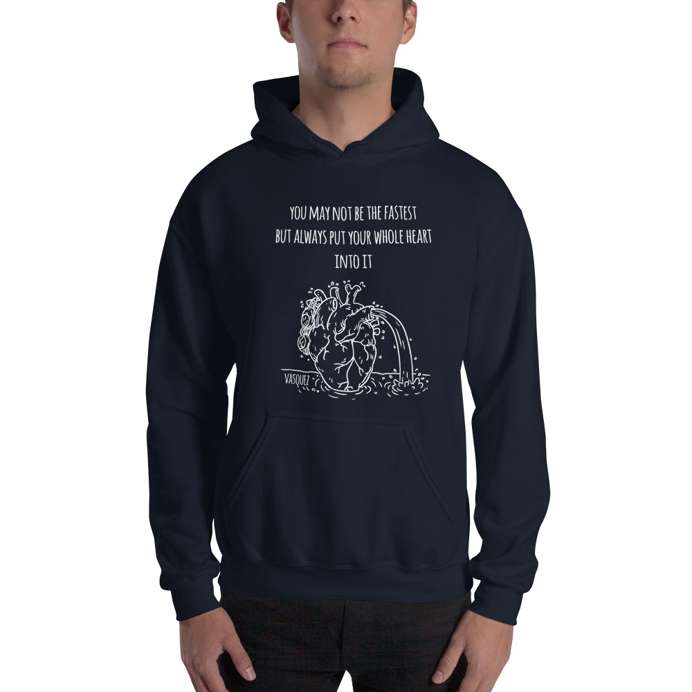 Heart of a Swimmer by Miguel Vásquez, Men's Hoodie White Logo