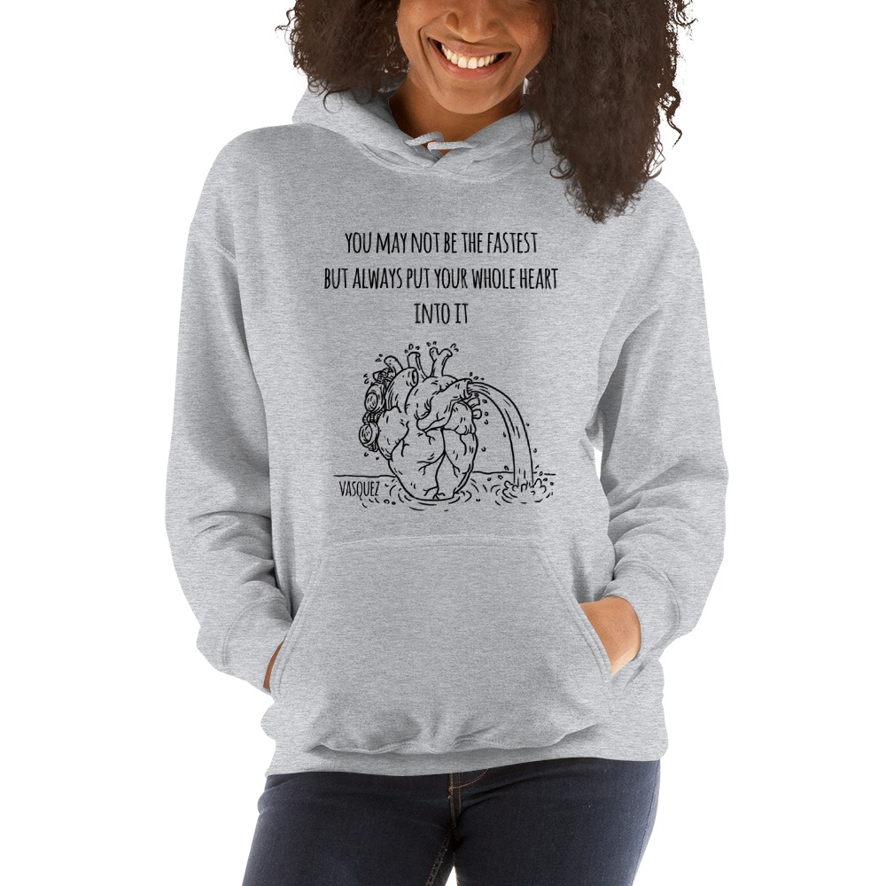 Heart of a Swimmer by Miguel Vásquez, Women's Hoodie Black Logo