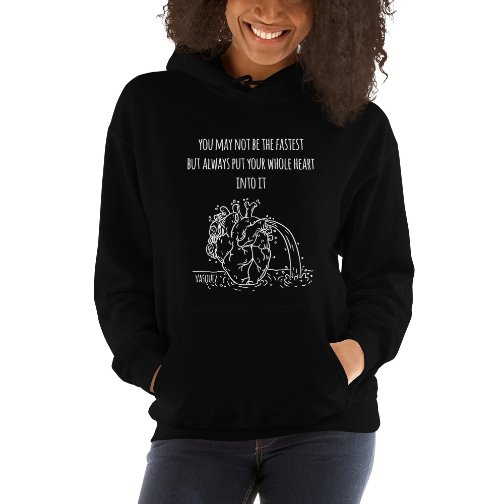 Heart of a Swimmer by Miguel Vásquez, Women's Hoodie White Logo
