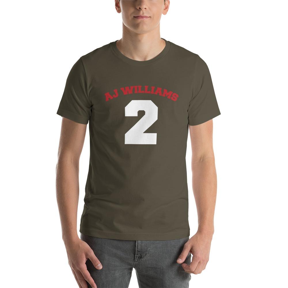 AJ Williams Men's T-shirt , Red and White Logo