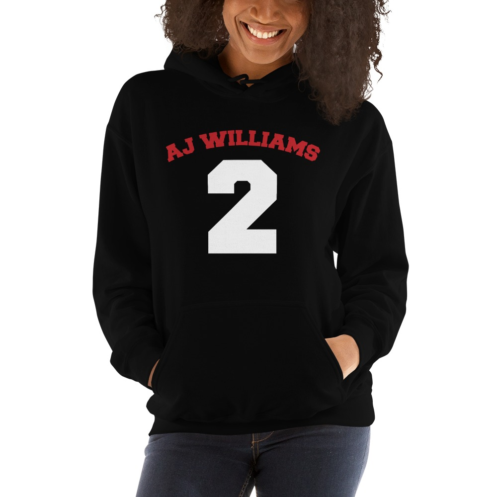 AJ Williams Women's Hoodie , Red and White Logo