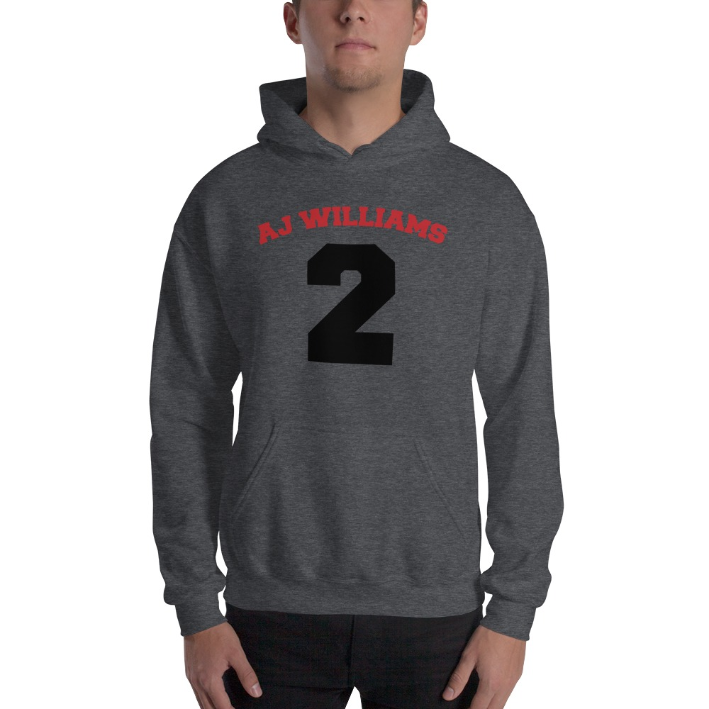 AJ Williams Men's Hoodie , Red and Black Logo