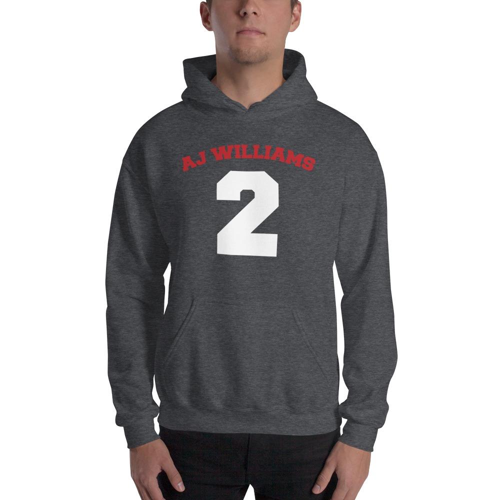 AJ Williams Men's Hoodie , Red and White Logo