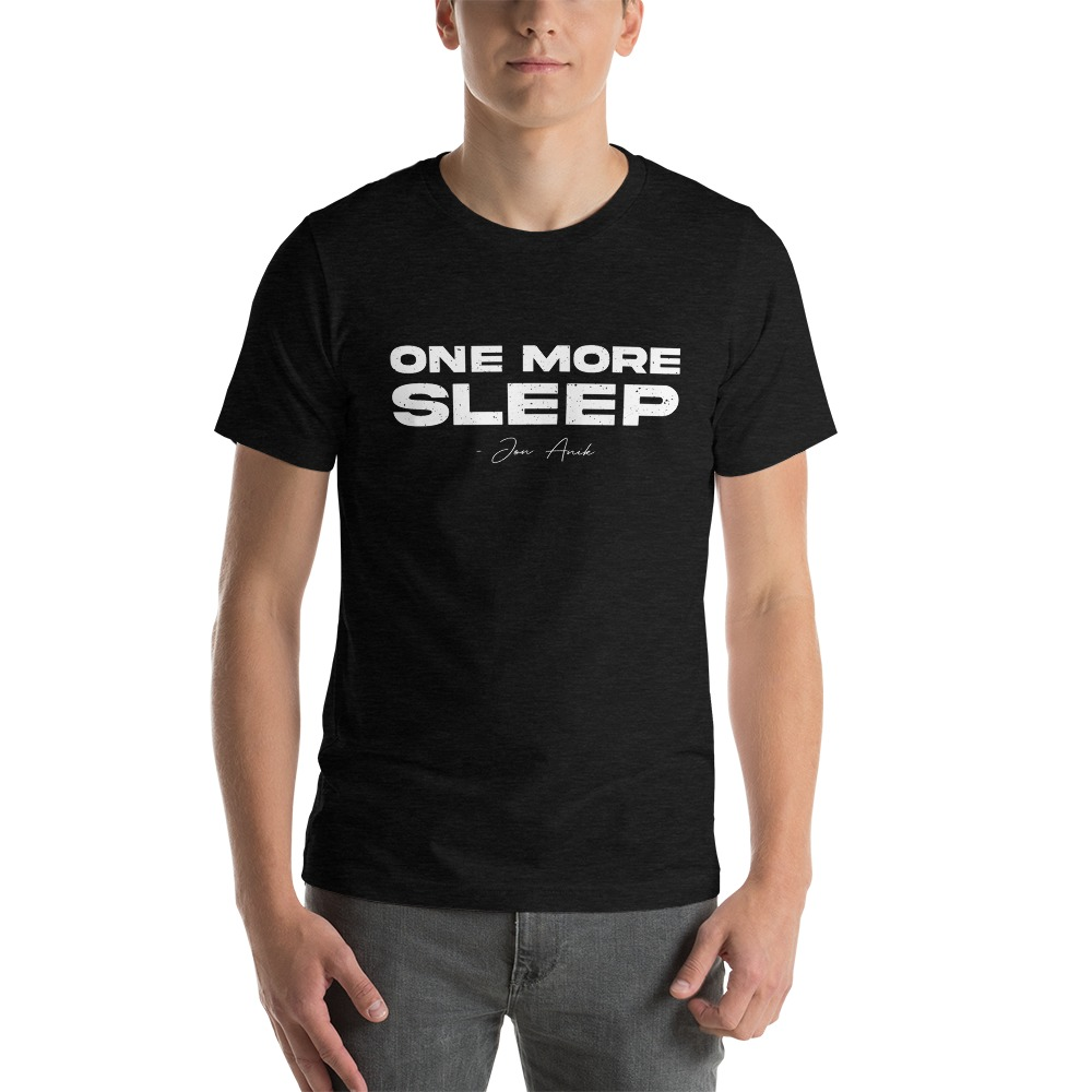 One More Sleep by Jon Anik, Men's T-Shirt, White Logo