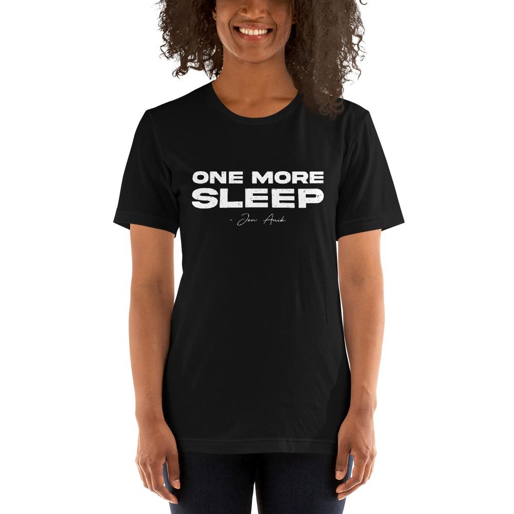 One More Sleep by Jon Anik, Women's T-Shirt, White Logo