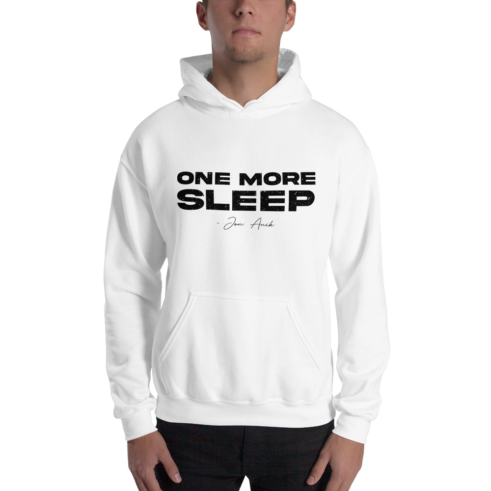 One More Sleep by Jon Anik, Men's Hoodie, Black Logo