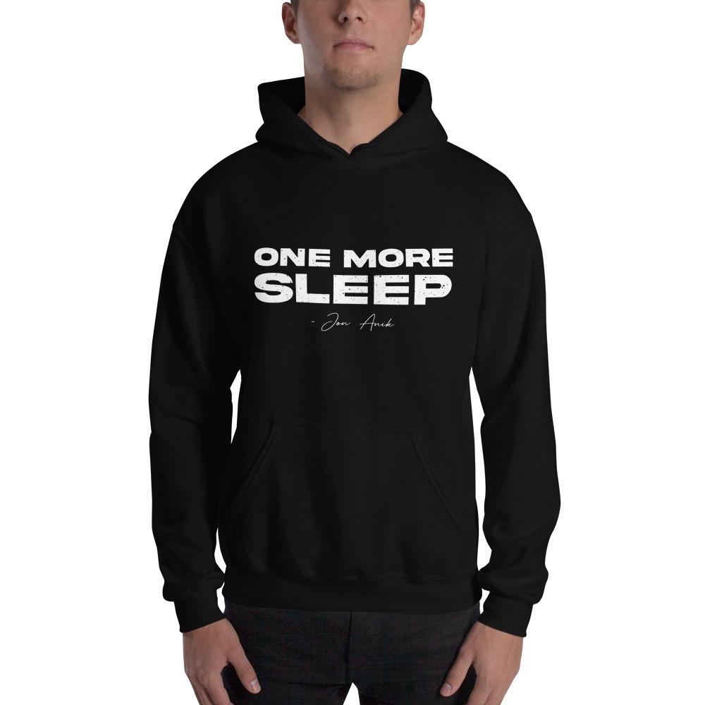 One More Sleep by Jon Anik, Men's Hoodie, White Logo