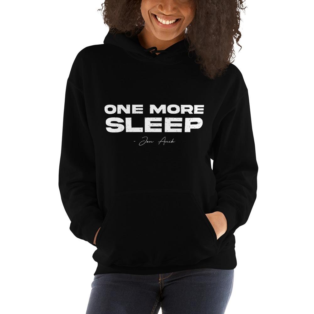 One More Sleep by Jon Anik, Women's Hoodie, White Logo