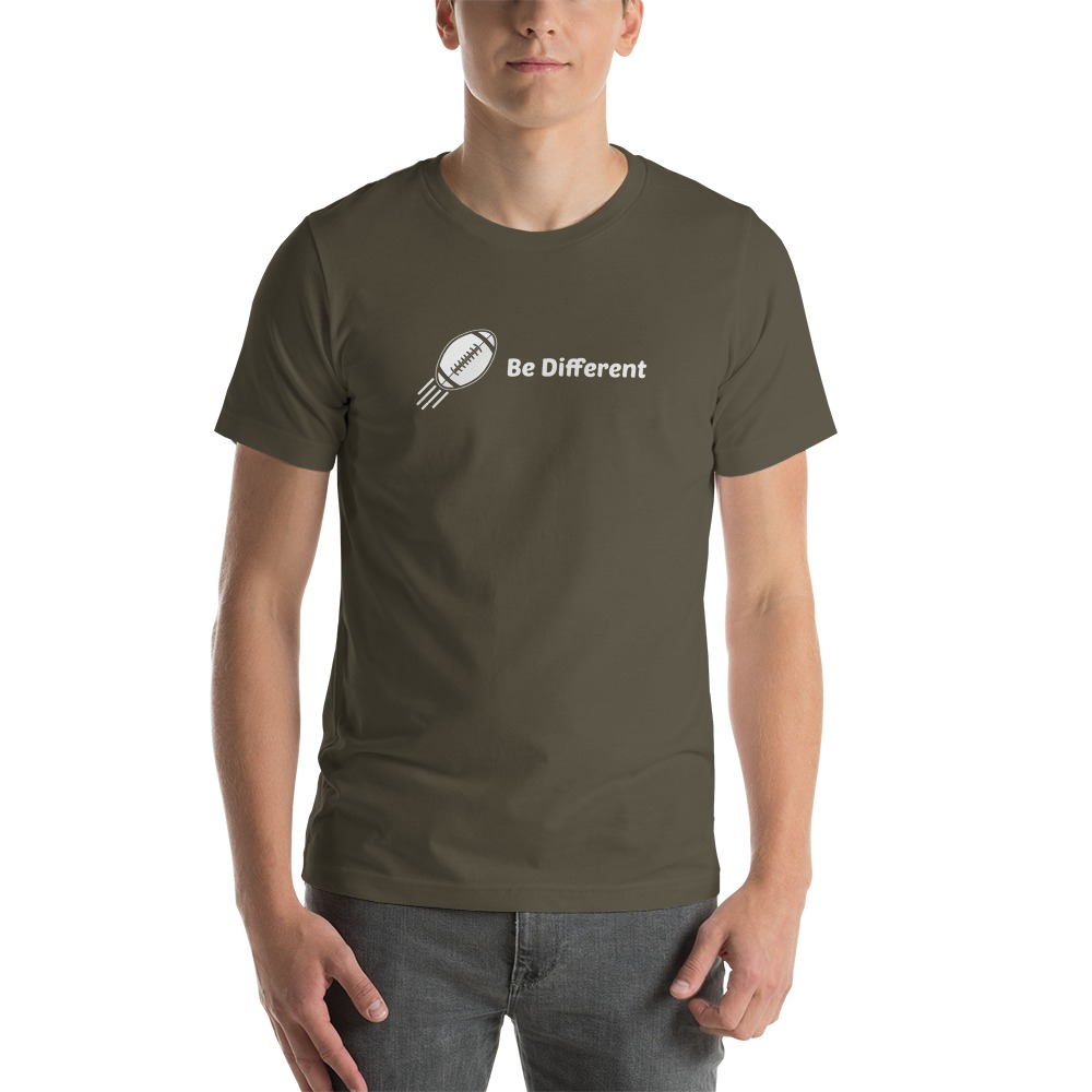 """Be Different"" by Basilio Jimenez Men's T-Shirt, White Logo"
