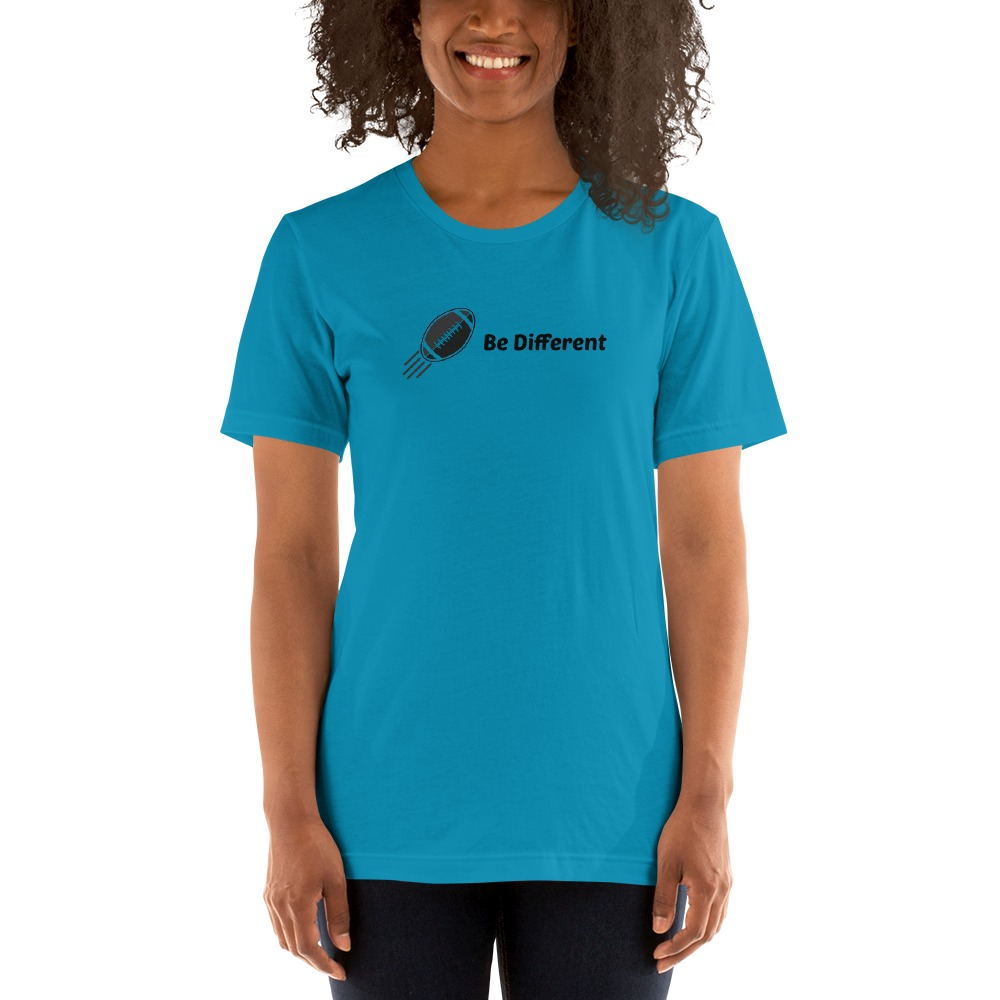 """Be Different"" by Basilio Jimenez Women's T-Shirt, Black Logo"
