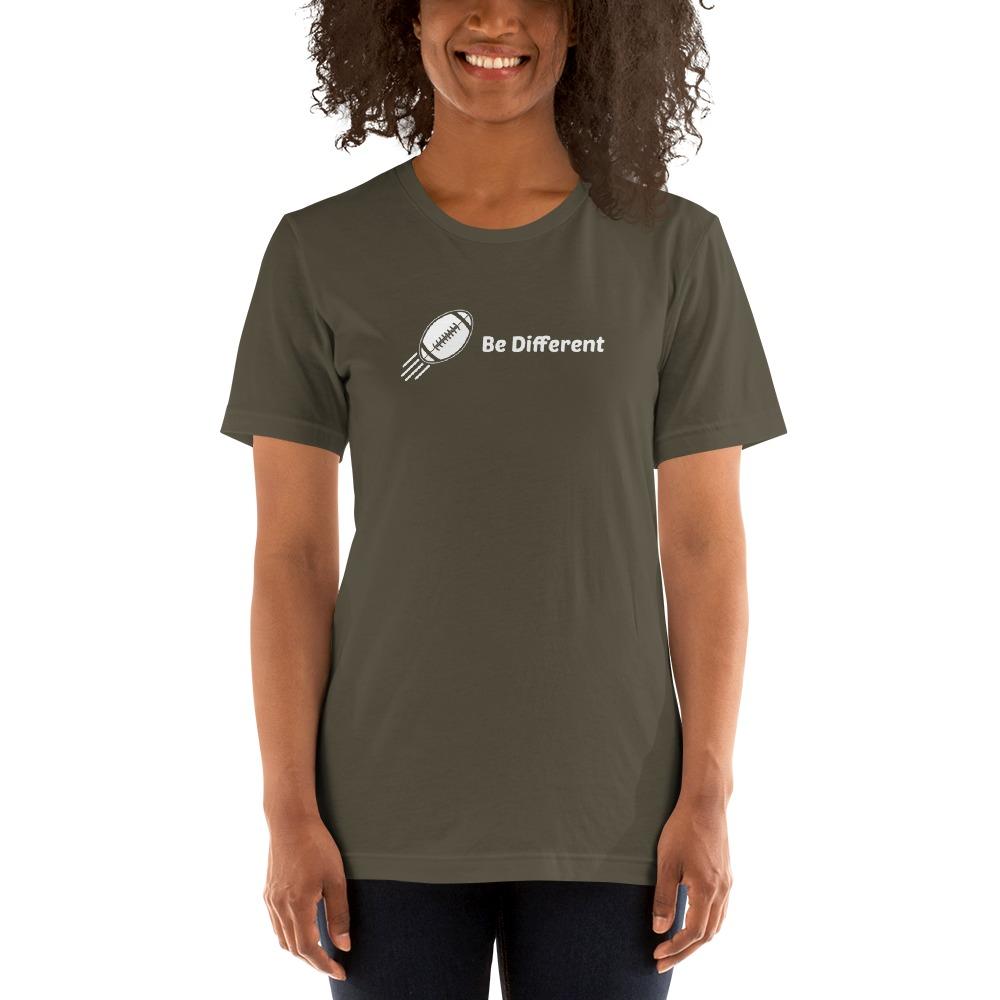 """Be Different"" by Basilio Jimenez Women's T-Shirt, White Logo"
