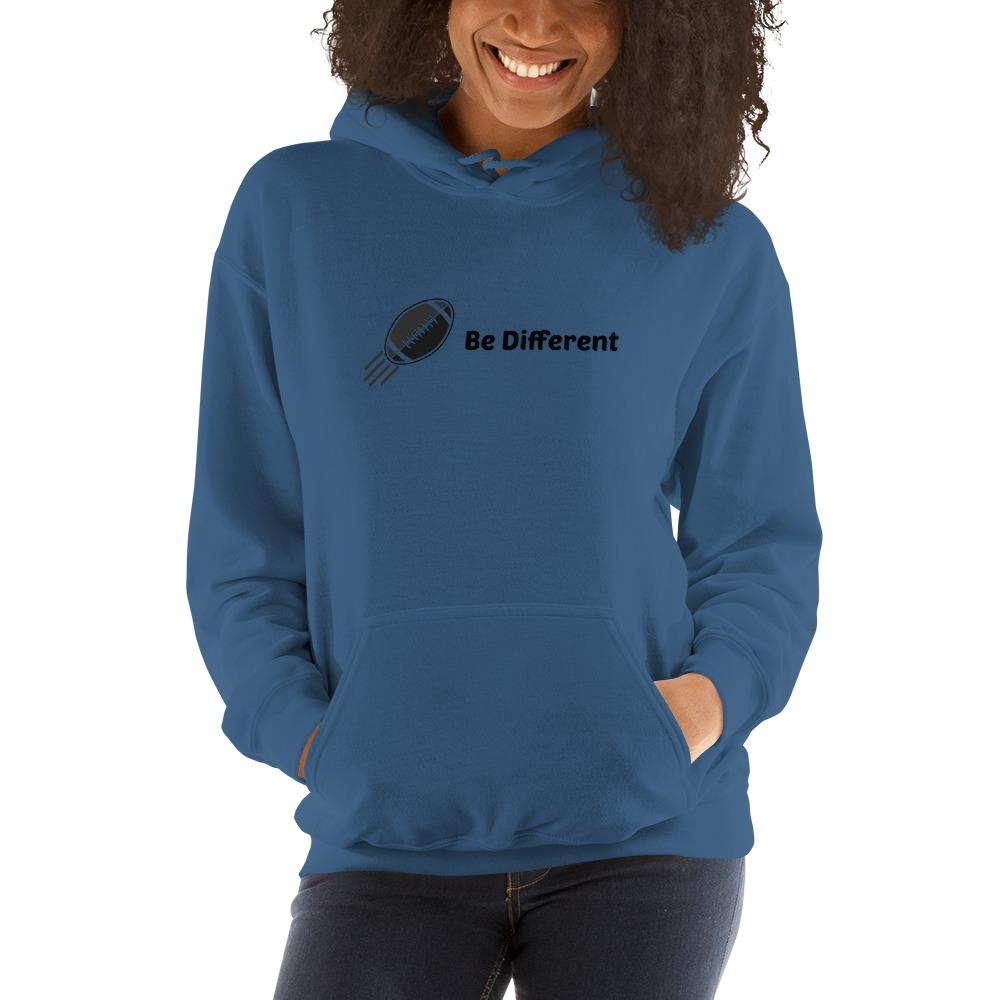 """Be Different"" by Basilio Jimenez Women's Hoodie, Black Logo"