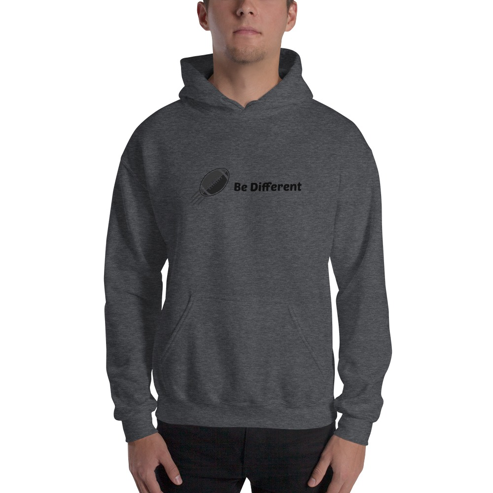 """Be Different"" by Basilio Jimenez Men's Hoodie, Black Logo"