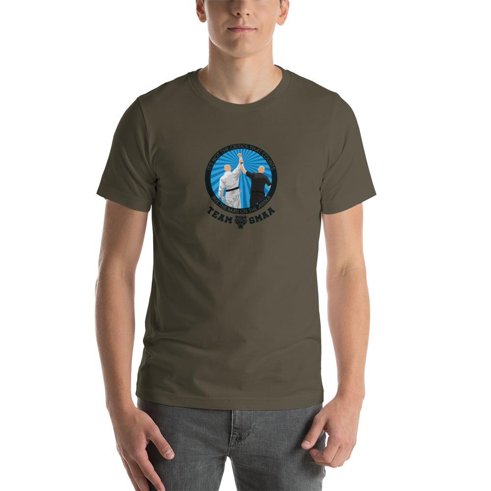 Goulburn Martial Arts Academy Men's T-Shirt, Black and  Blue Logo