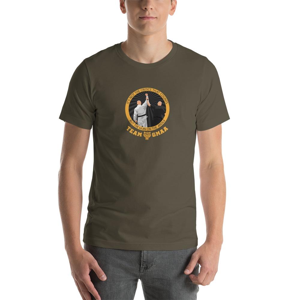Goulburn Martial Arts Academy Men's T-Shirt, Gold and Black Logo