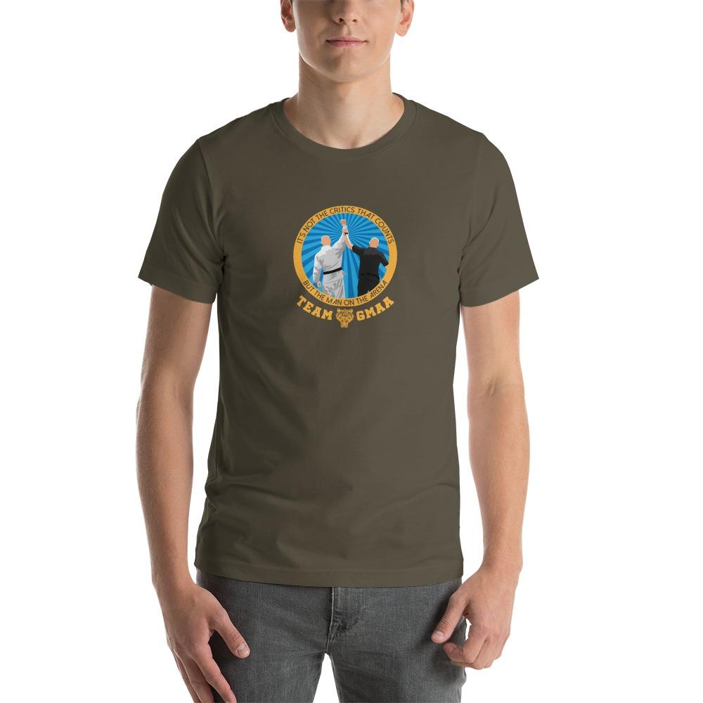 Goulburn Martial Arts Academy Men's T-Shirt, Gold and Blue Logo