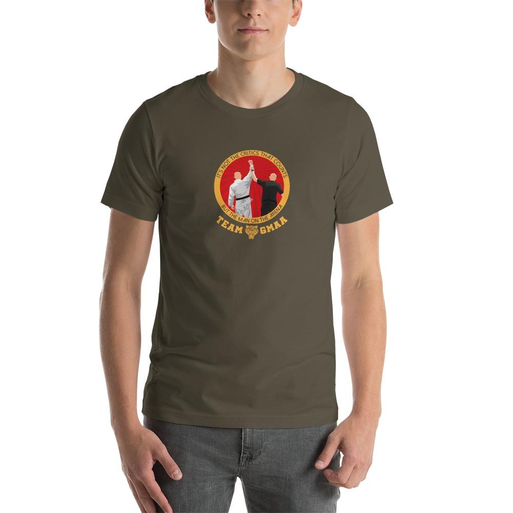 Goulburn Martial Arts Academy Men's T-Shirt, Gold and Red Logo